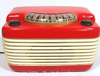 "Red & White Wall Mount Art Deco Philco Cabinet Electric Radio in Working Condition.  Measures approximately 12"" wide."