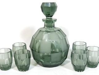 Smokey Bohemian Czech Art Deco Cut Glass Liquor Decanter with 6 Geometric Cut Glasses.
