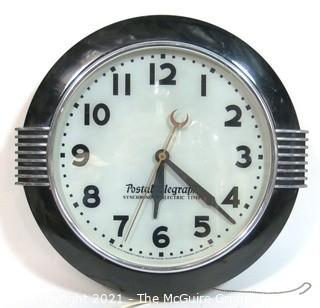 "Antique Art Deco Postal Telegraph Hammond Synchronous Electric Light Up Wall Clock.  Measures approximately 20"" in diameter."