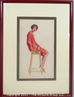 "Framed Watercolor Lithograph of Woman On Stool by C. Coles Phillips.  Measures approximately 20"" x 15""."