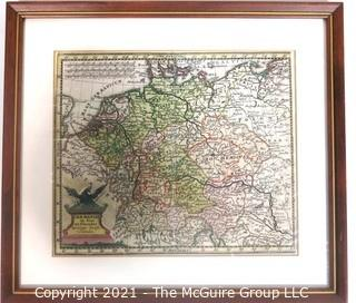 "Framed map of ""Germany"" by Christopher Weigel, Nernberg, circa 1680. Outside dimensions 8 x 9"""