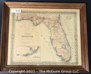 "1855 Map of Florida, Framed Under Glass, Printed by J.H. Colton, Mapmaker.   Measures approximately 16 x 19"" inside dimensions."