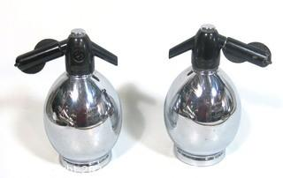 Pair of Metal Oval Form Soda Siphon Bottles; made by Soda King, USA