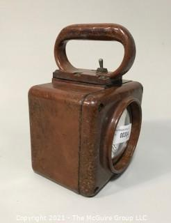 Vintage WWII Era Roflan Relay Battle Lantern in Working Condition with Mounting Hooks.
