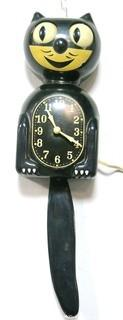 Vintage Black Kit Kat Electric Wall Clock with Moving Tail in Original Box.