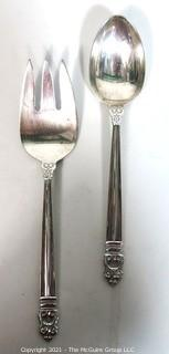 Royal Danish International Sterling Serving Fork and Spoon; 163g
