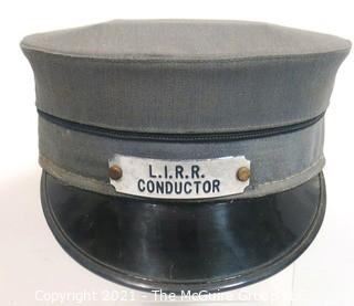 Vintage L.I.R.R. Long Island Railroad Train Conductor Hat with Badge.