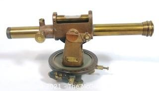 Antique Brass Engineer Surveyor Transit Level Made by C.L. Berger and Son, Boston.