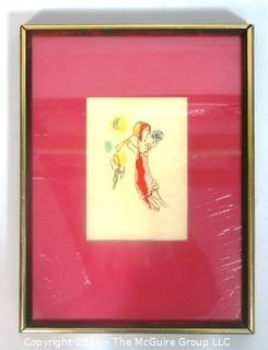 "Framed Colored Gouache Original Artwork in the style of Chagall; Untitled and Unsigned.  Todd Gallery label on verso.  Measures approximately 12"" wide x 18"" tall."