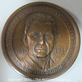 Bronze Medal: Alexander Edward Duncan, Founder, Commercial Crtedit Company, 1912-1937; made by Medallic Art Co., NY
