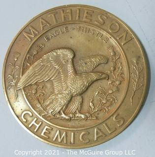 "Bronze Medal: ""The Mathieson Alkali Works - Manufacturers of Chemicals.  Celebrating 50 Years of Service to American Industry and Public Health; 1892-1942"""