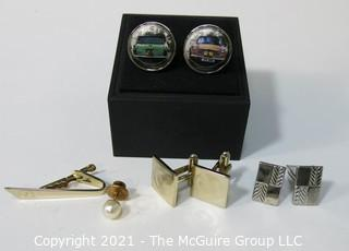 Group of Men's Accessories including Cufflinks and Tie Bars.