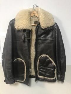 Vintage Schott Sheepskin Fleece Lined Leather Bomber Jacket Men's Size Small.