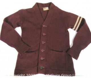 Vintage Princeton University Burgundy Wool Varsity Letterman Sweater with Stripes on Arm.  Cardigan Style. Some damage.