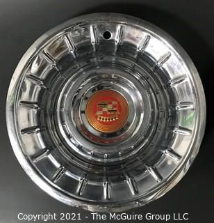 """Pair of 1957 Cadillac """"Punch Bowl"""" Style Hubcaps Wheel Covers with Center Emblems"""