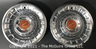 "Pair of 1957 Cadillac ""Punch Bowl"" Style Hubcaps Wheel Covers with Center Emblems"