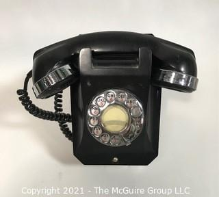 Vintage Black Rotary Dial Phone with Chrome Trim
