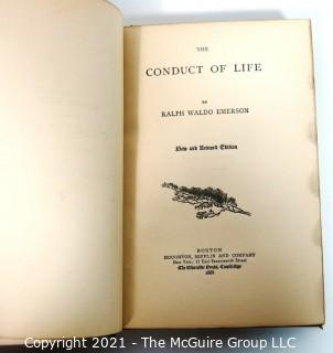 """Conduct of Life"" of By Ralph Waldo Emerson, 1888 with Leather Binding, Marbled Cover and Gilt Ends."