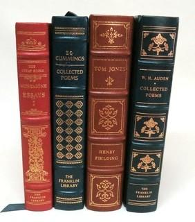 "Set of 4 Leather Bound with Fine Gilt Decorative Bindings or Covers of Classic Books Published by The Franklin Library, Limited Edition Titles from the ""Collected Stories of the World's Greatest Writers Series""."