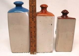"Set of Three Vintage Ceramic Stoneware Bed Warmers"""