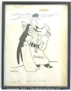 "Framed Under Glass Political Cartoon by Stan MacGovern of the New York Post. Features Uncle Sam and Gen. Franco with Original Copy Notations. Measures approximately 12"" x 15""."