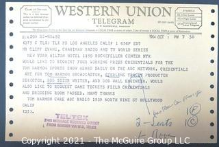Ephemera: Sports: Telegram from Tom Harmon to Clifford Evans requesting press credentials and passes to World Series games. 1964