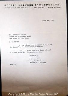Ephemera: Broadcasting: 1962 letter from Richard E. Bailey to Clifford Evans on new program.