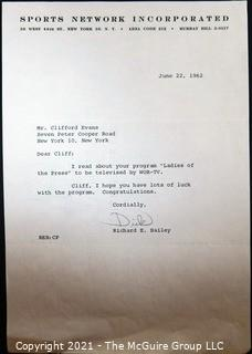 Ephemera: Broadcasting: 1962 letter from Richard E. Bailey to Clifford Evans on new program.
