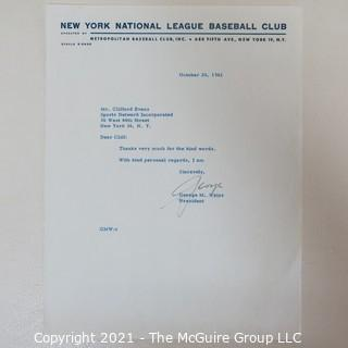 Letter to Clifford Evans from George Weiss, first President of the NY Mets baseball team; 1961.