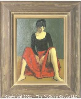 "Moses Soyer Framed Oil on Board of Woman in Red Skirt Entitled ""Dancer Resting""; Inside dimensions 12 x 15""; Outside dimensions 20"" x 24"""