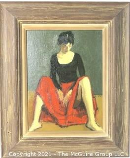 """Moses Soyer Framed Oil on Board of Woman in Red Skirt Entitled """"Dancer Resting""""; Inside dimensions 12 x 15""""; Outside dimensions 20"""" x 24"""""""