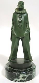 "Art Deco Pierrot Clown Statuette by Max LeVerrier Made in Green Patinated Bronze on Marble Base; 10""T"