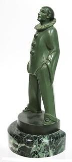 """Art Deco Pierrot Clown Statuette by Max LeVerrier Made in Green Patinated Bronze on Marble Base; 10""""T"""