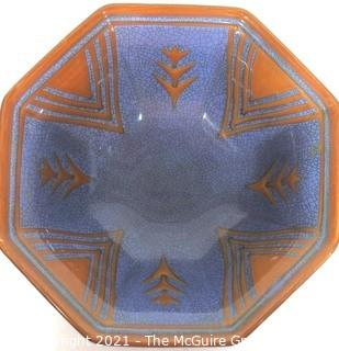 Vintage Blue with Orange Decoration and Faux Crazing Pottery Bowl made in Germany.