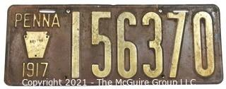1917 Pennsylvania Car License Plate
