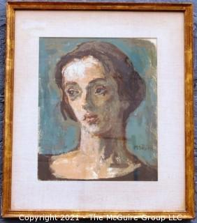 "Framed Under Glass Watercolor On Paper Portrait Entitled ""The Young Actress"" by Moses Soyer. The image measures approximately 15"" x 12"".  The frame measures approximately 17 1/2"" x 22 1/2""."