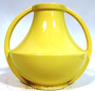 Vintage Yellow Coors Colorado Pottery Handled Vase Urn Vase