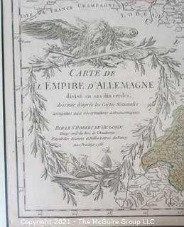 """1756 Framed Antique Map of the German Empire By Leading French Cartographer Gilles Robert de Vaugondy of the Royal Academy of Sciences, Nancy. Outside Dimensions 26W x 29""""T"""