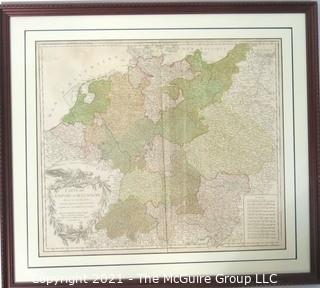 "1756 Framed Antique Map of the German Empire By Leading French Cartographer Gilles Robert de Vaugondy of the Royal Academy of Sciences, Nancy. Outside Dimensions 26W x 29""T"
