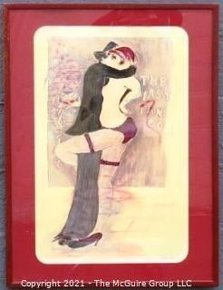 "Framed under glass, signed and Numbered Color Lithograph ""The Last Tango"" by Israeli Artist Mosche Michaan. Outside dimensions 26 x 35"""