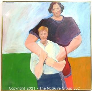 "Large Framed Oil on Canvas of Painting Entitled ""Mother and Son"" by Susan Middleman.  Measures approximately 37"" square. She was exhibited at the Franz Bader Gallery in Washington DC."