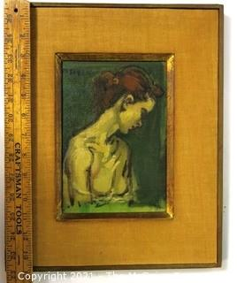 """Framed and Signed Oil on Canvas of Painting Entitled """"Female Torso"""" By Moses Soyer.  Painting measures approximately 8"""" x 5 1/2"""".  Frame measures approximately 14"""" x 11""""."""