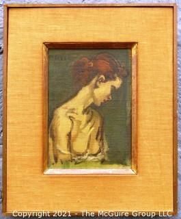 "Framed and Signed Oil on Canvas of Painting Entitled ""Female Torso"" By Moses Soyer.  Painting measures approximately 8"" x 5 1/2"".  Frame measures approximately 14"" x 11""."