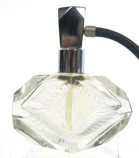 Art Deco Czech Art Deco Clear Cut Glass With Frosted Design Perfume Bottle with Atomizer.