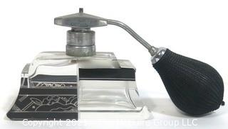 Karel Palda Bohemian Czech Art Deco Clear Cut Glass With Black & Gold Accents Perfume Bottle with Atomizer.