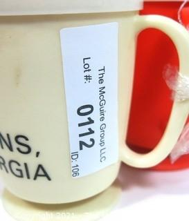 (2) Vintage Plains, Georgia Plastic Promotional Mugs. Home of Jimmy Carter.