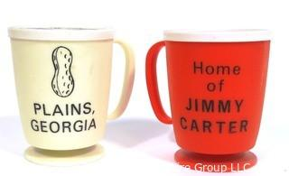 (2) Vintage Plains, Georgia Plastic Promotional Mugs. Home of Jimmy Carter.