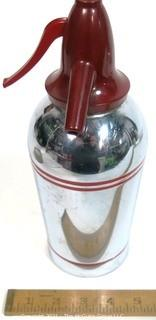 Vintage Art Deco Sparklet Devices Chrome Soda Siphon with Red Stripes and Top