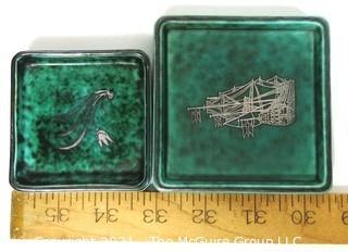 Gustavsberg Argenta Stoneware Pottery Trinket Trays Designed by Wilhelm Kage with Silver Decoration on Jade Green Base.