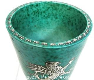 """Gustavsberg Argenta Stoneware Pottery Vase or Goblet Designed by Wilhelm Kage with Silver Griffin on Jade Green Base. Measures approximately 5"""" tall"""